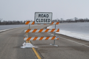Fargo, ND, March 26,2009  A sign indicates that a road is closed due to  flooding by the Red River.The Red River is expected to crest on Saturday at over 41 feet. Photo by Patsy Lynch/FEMA